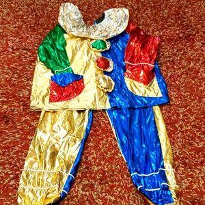 Vintage Metallic Colored Clown Costume